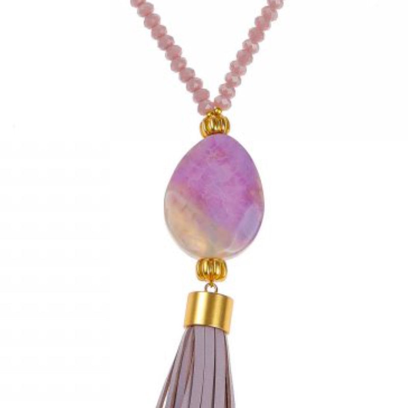 Pranella Annora Crystal Tassel Necklace