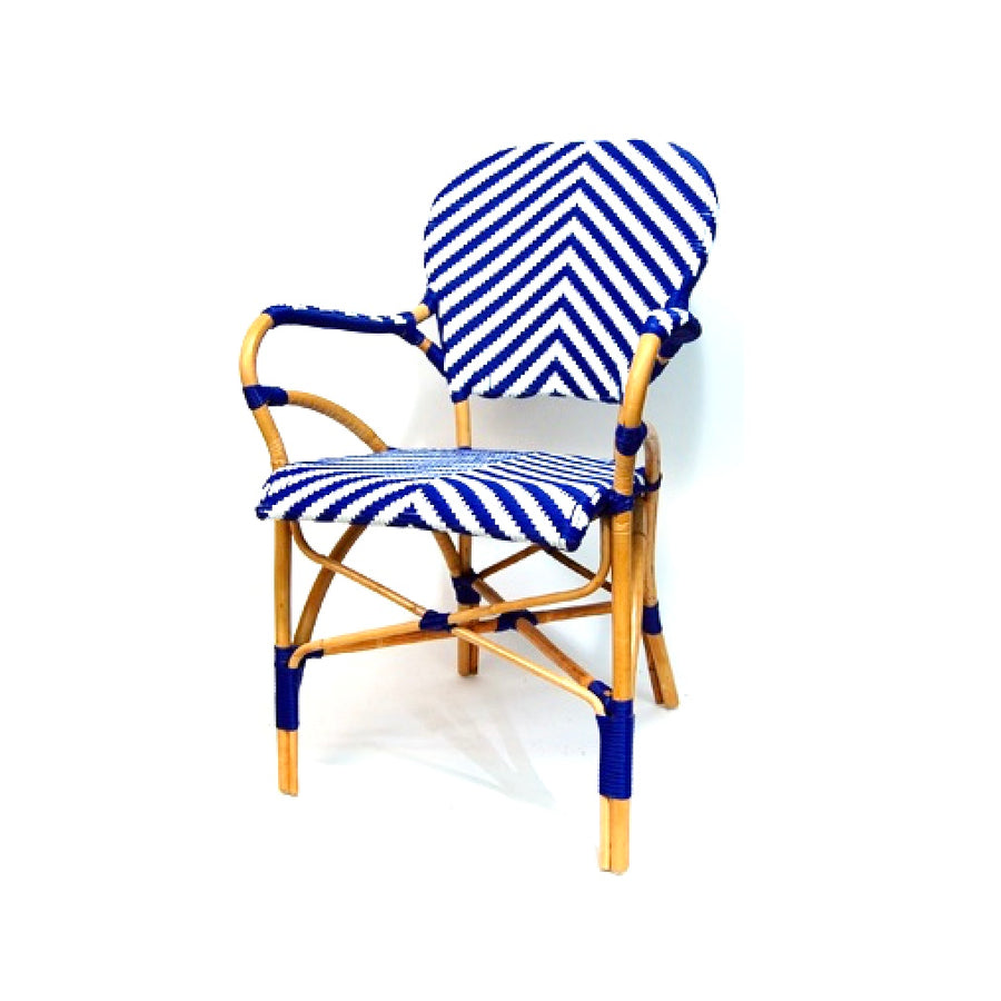 Woven French Bistro Chair - Blue & White