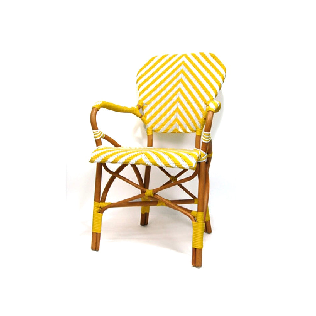 Woven French Bistro Chair - Yellow & White
