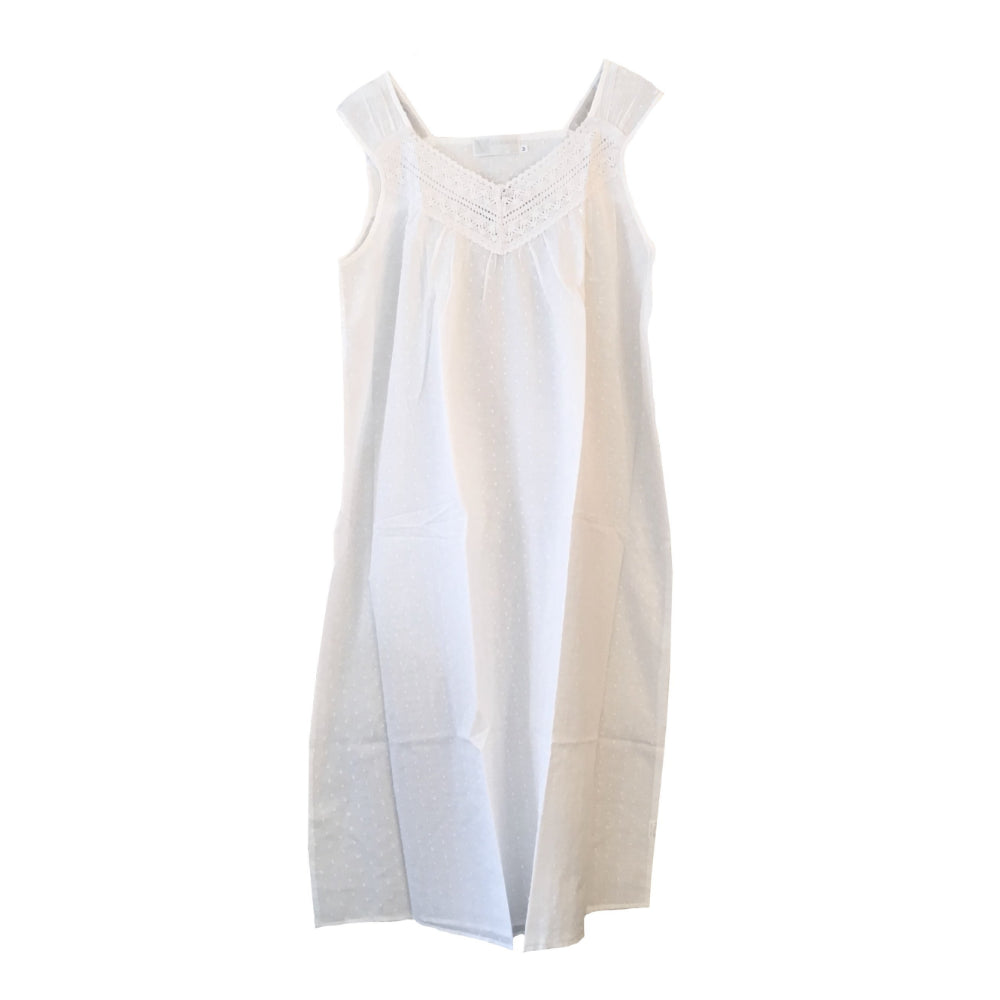 "Victoriana ""Audrey"" V Neck Sleeveless White Nightgown"