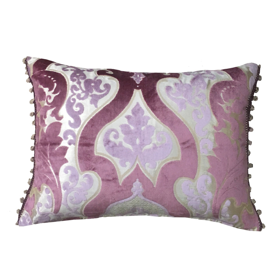 Cabriole Amethyst Pillow with Bauble Trim