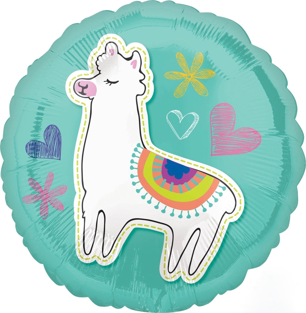 "Llama Celebration Round Mylar Balloon 18""- Le Petite Putti Party Canada"