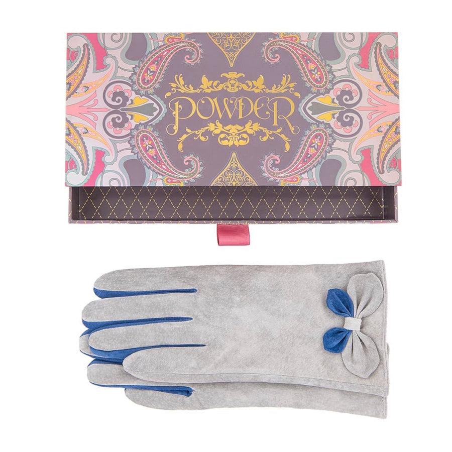 "Powder ""Antoinette"" Suede Gloves - Slate"