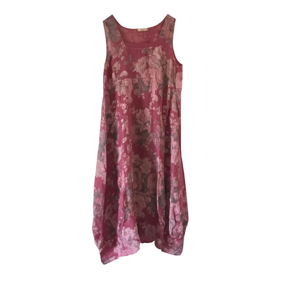 Dusty Rose Floral Sleeveless Linen Dress