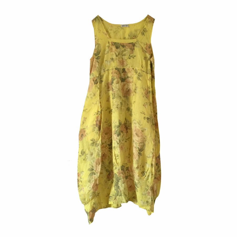 Yellow Floral Sleeveless Linen Dress