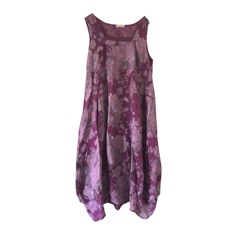 Purple Floral Sleeveless Linen Dress