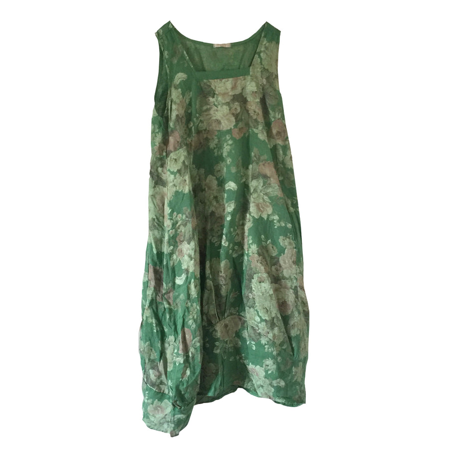 Green Floral Sleeveless Linen Dress