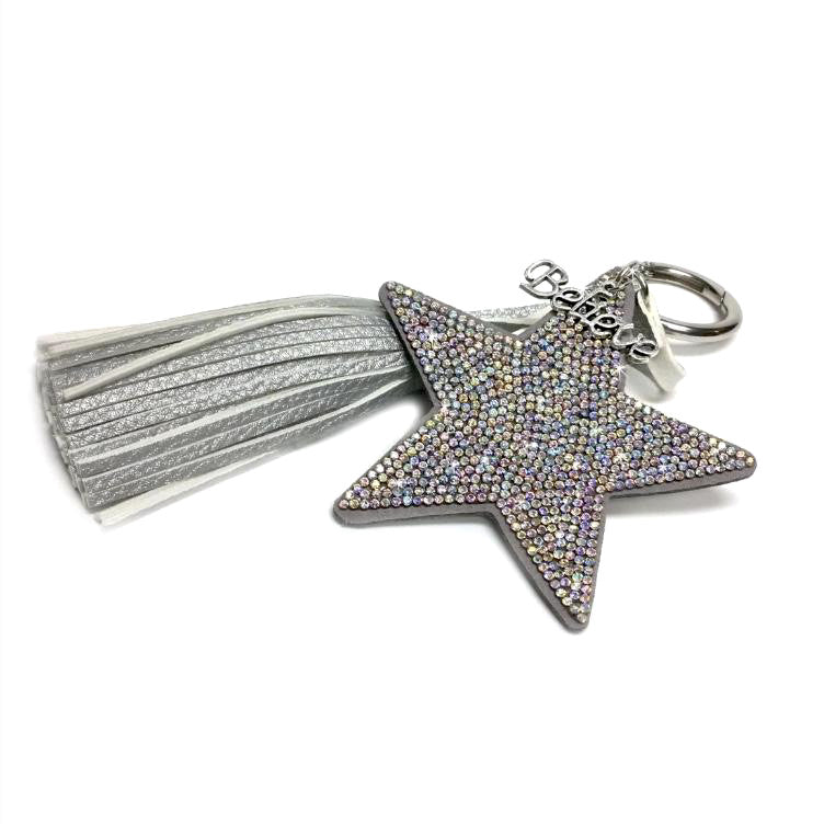Star Key Chain with Tassel - Silver Multi