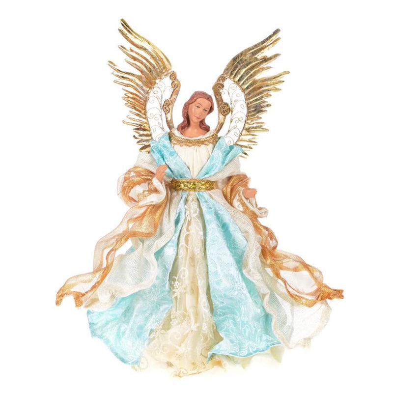 Tiffany Blue, Ivory & Gold Angel Christmas Tree Topper - Putti Christmas Celebrations