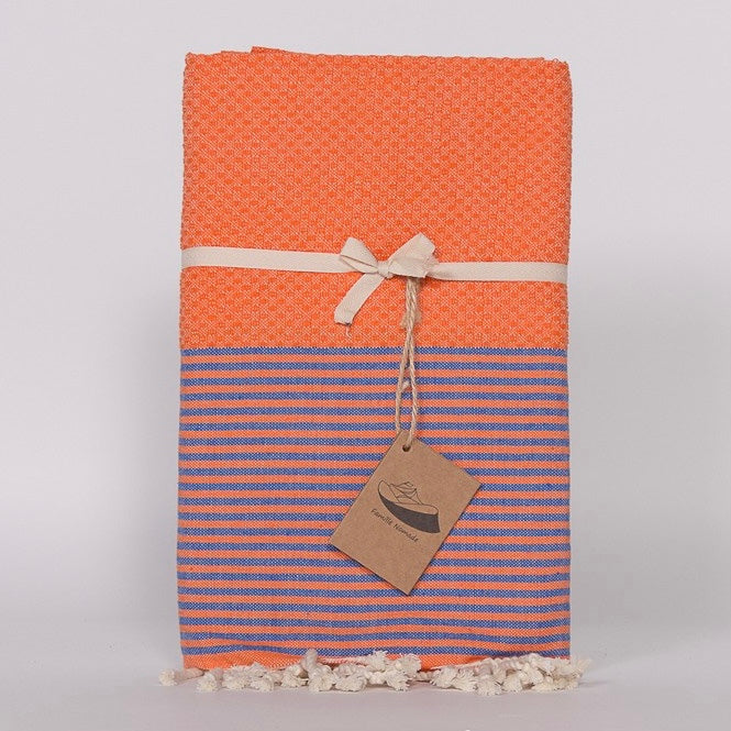 Thin Stripe Fouta Towel - Orange & Blue - Putti Fine Furnishings