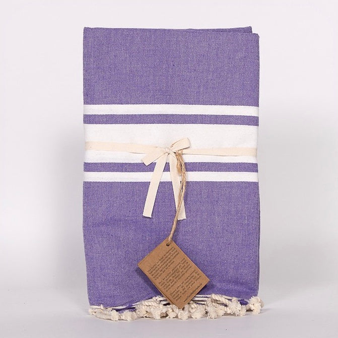 Flat Weave Stripe Fouta Towel - Purple