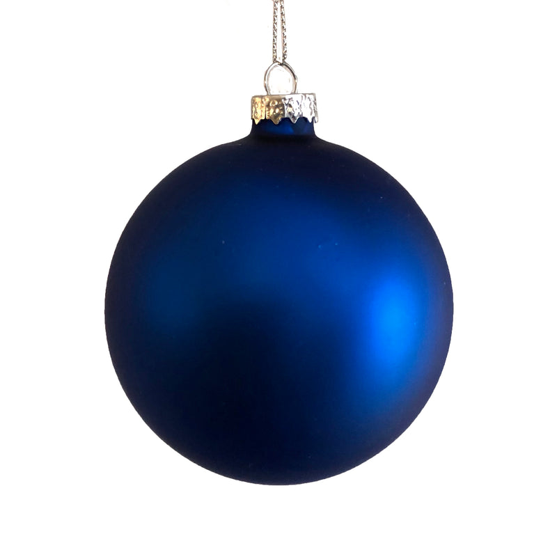 Cobalt Blue Matte Satin Glass Ball 8cm  - Putti Christmas Canada