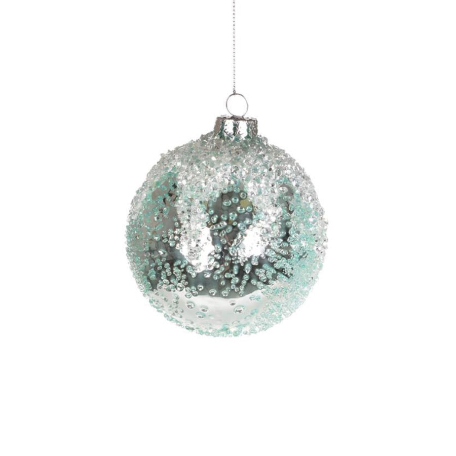 Iced Aqua Glass Ornament - Ball