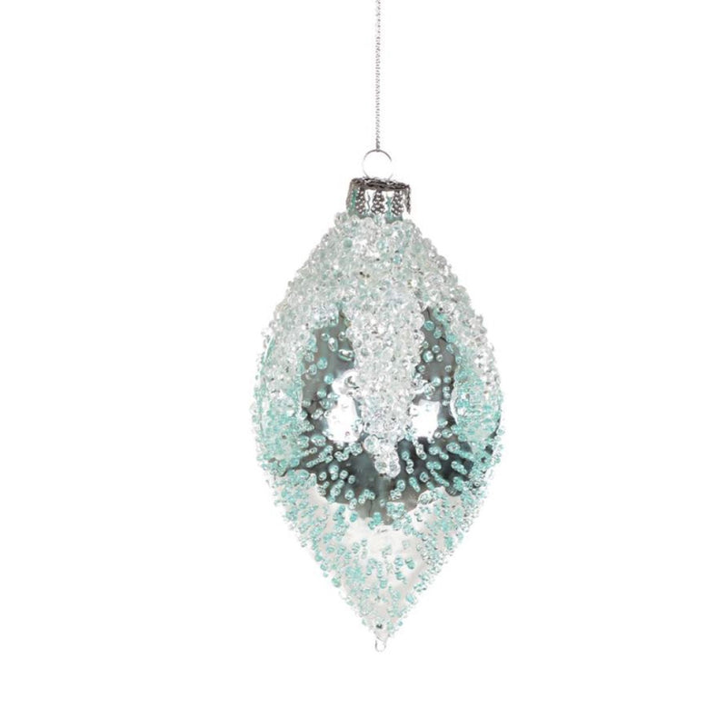 Iced Aqua Glass Ornament - Double Point, CT-Christmas Tradition, Putti Fine Furnishings