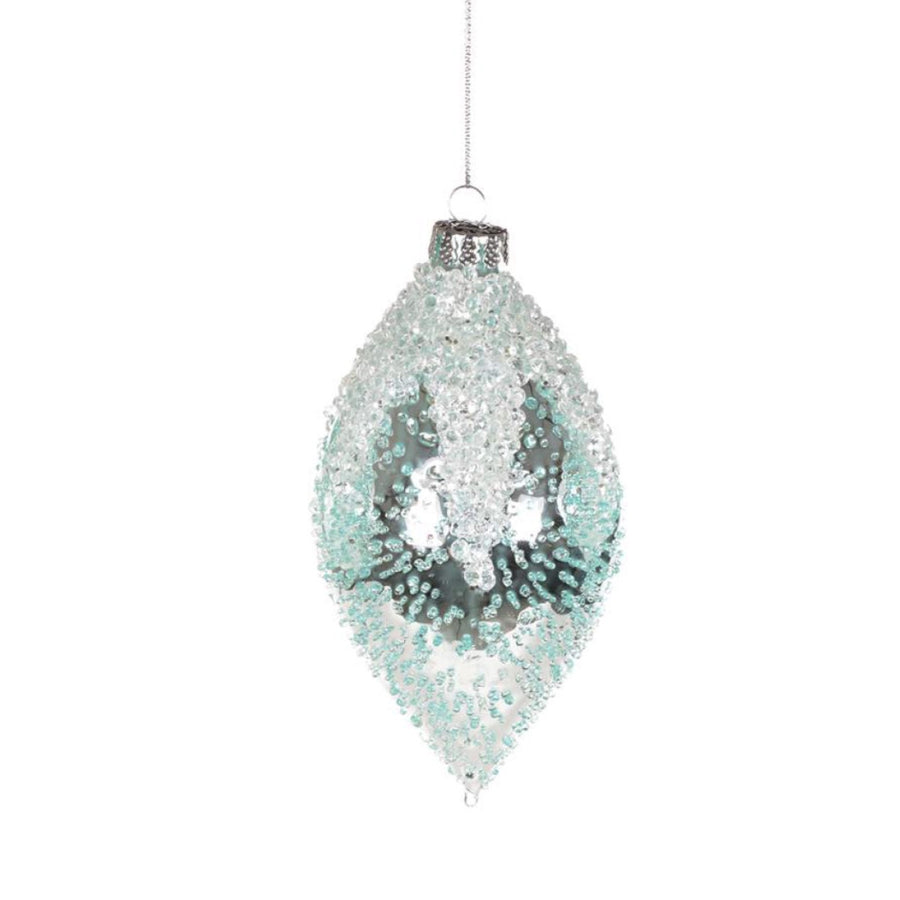 Iced Aqua Glass Ornament - Double Point