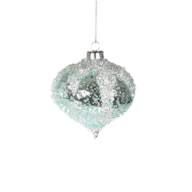 Iced Aqua Glass Ornament - Onion, CT-Christmas Tradition, Putti Fine Furnishings