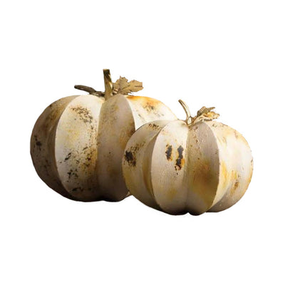 Kalalou Antique White Metal Pumpkins