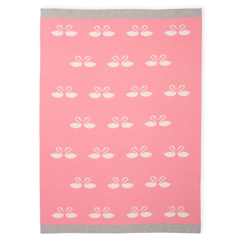 Elegant Baby Swan Knit Pink Baby Blanket - Le Petite Putti Canada