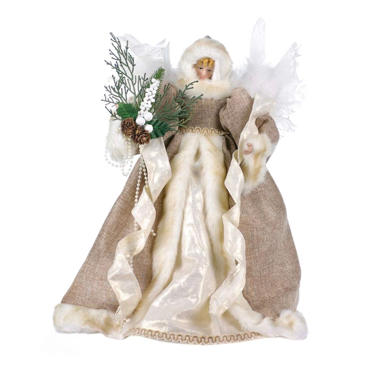 Burlap Angel with Pine Bouquet Tree Topper - Putti Christmas Celebrations