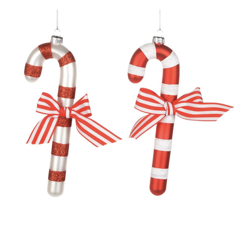 Red and White Stripe Glass Candy Cane Ornament - Putti Christmas Canada