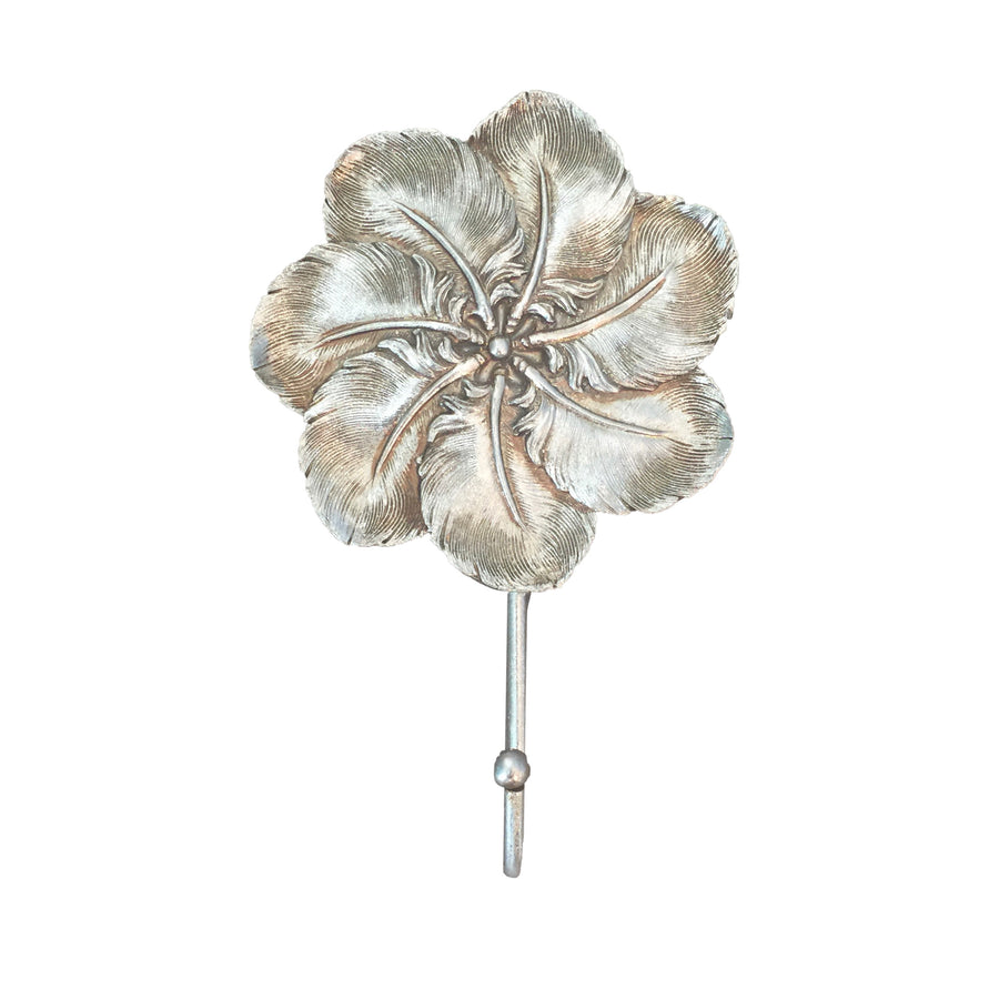 Silver Leaf Feather Rosette Wall Hook