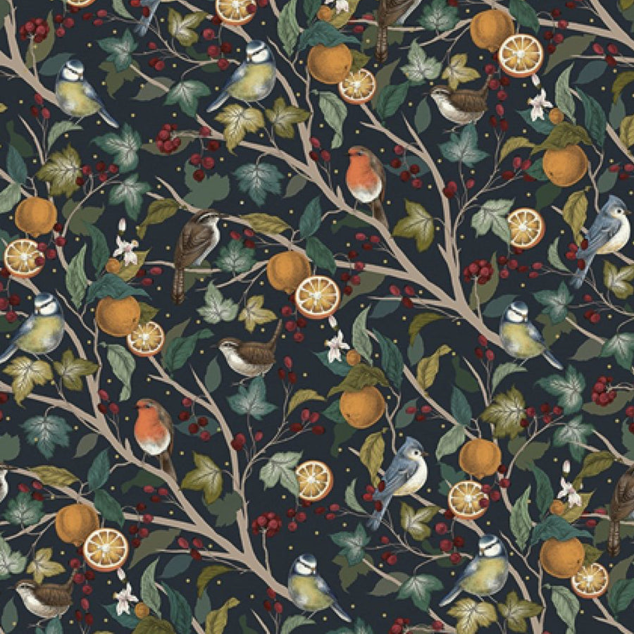 Winter Birds in a Fruit Tree Wrapping Paper