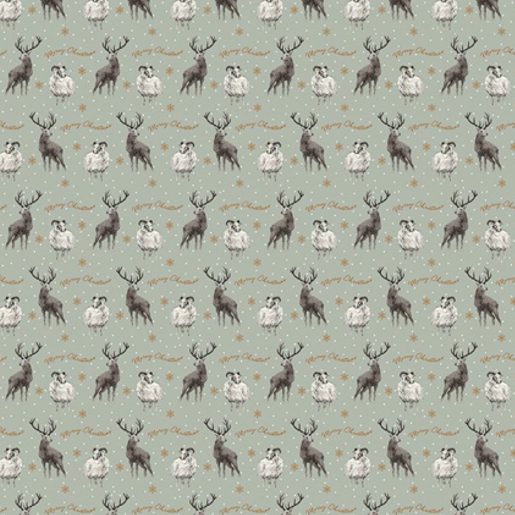 Art File Stag and Sheep Christmas Wrapping Paper - Putti Celebrations
