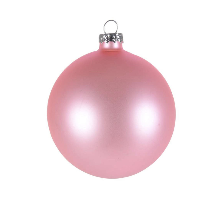 Pink Matte Satin Glass Ball 8cm