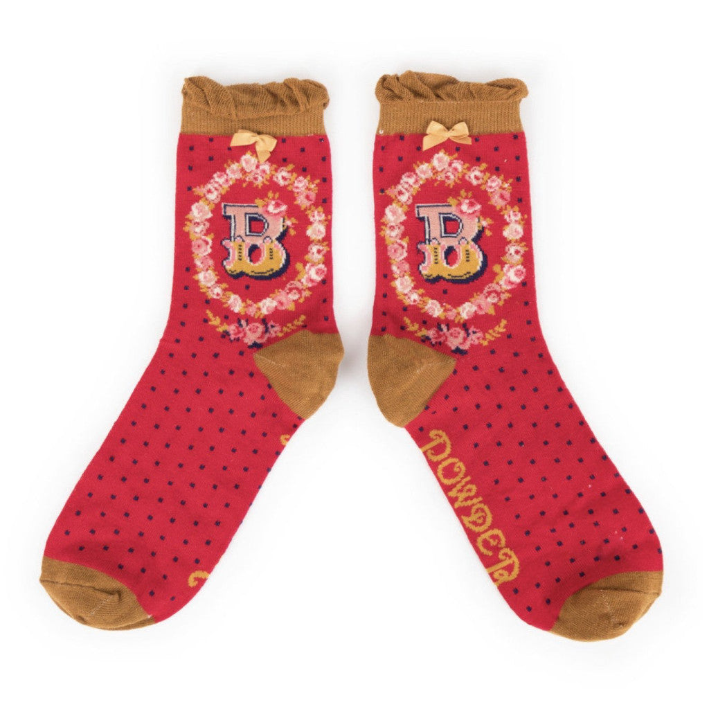 "Powder ""A to Z"" Ankle Socks - B - Putti Fine Fashions Canada"