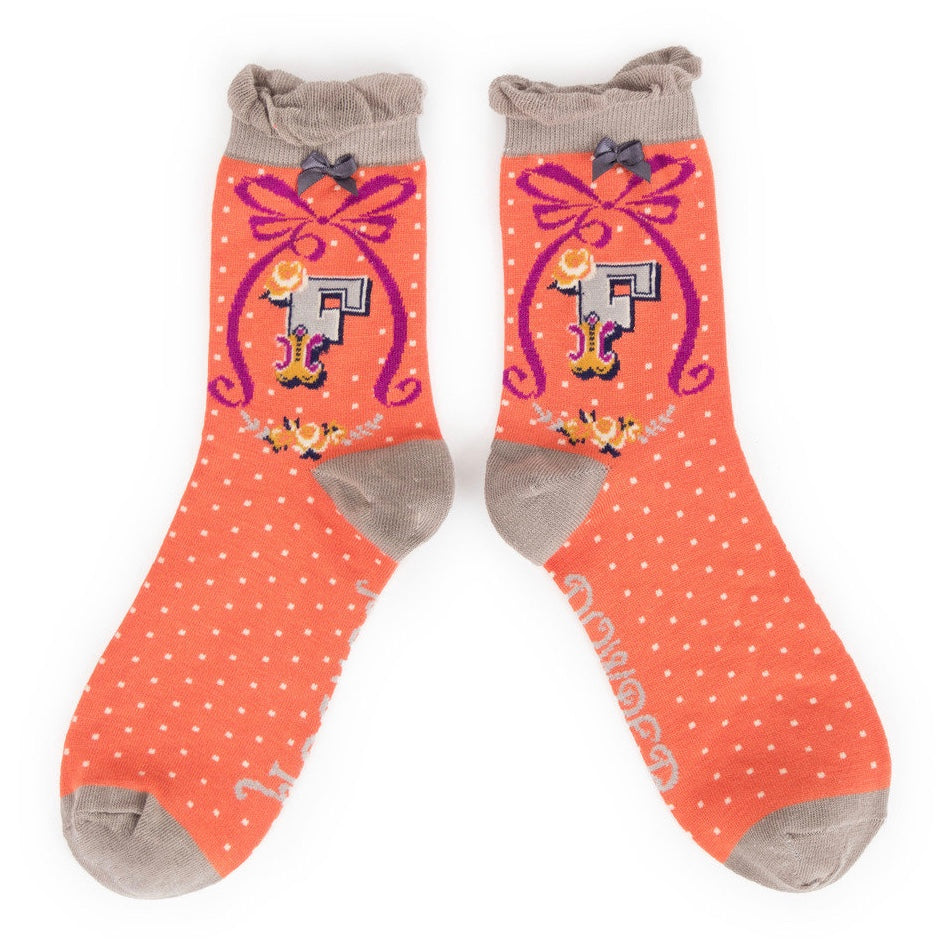 "Powder ""A to Z"" Ankle Socks - F - Putti Fine Fashions Canada"