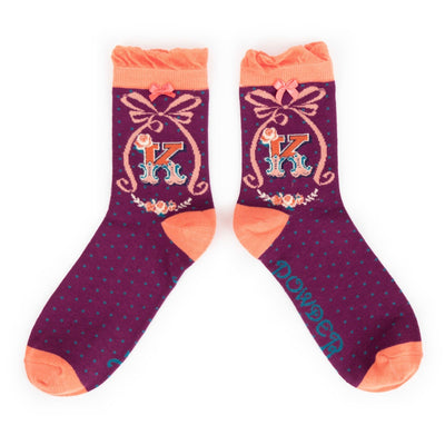 "Powder ""A to Z"" Monogrammed Ankle Socks - K - Putti Fine Fashions Canada"
