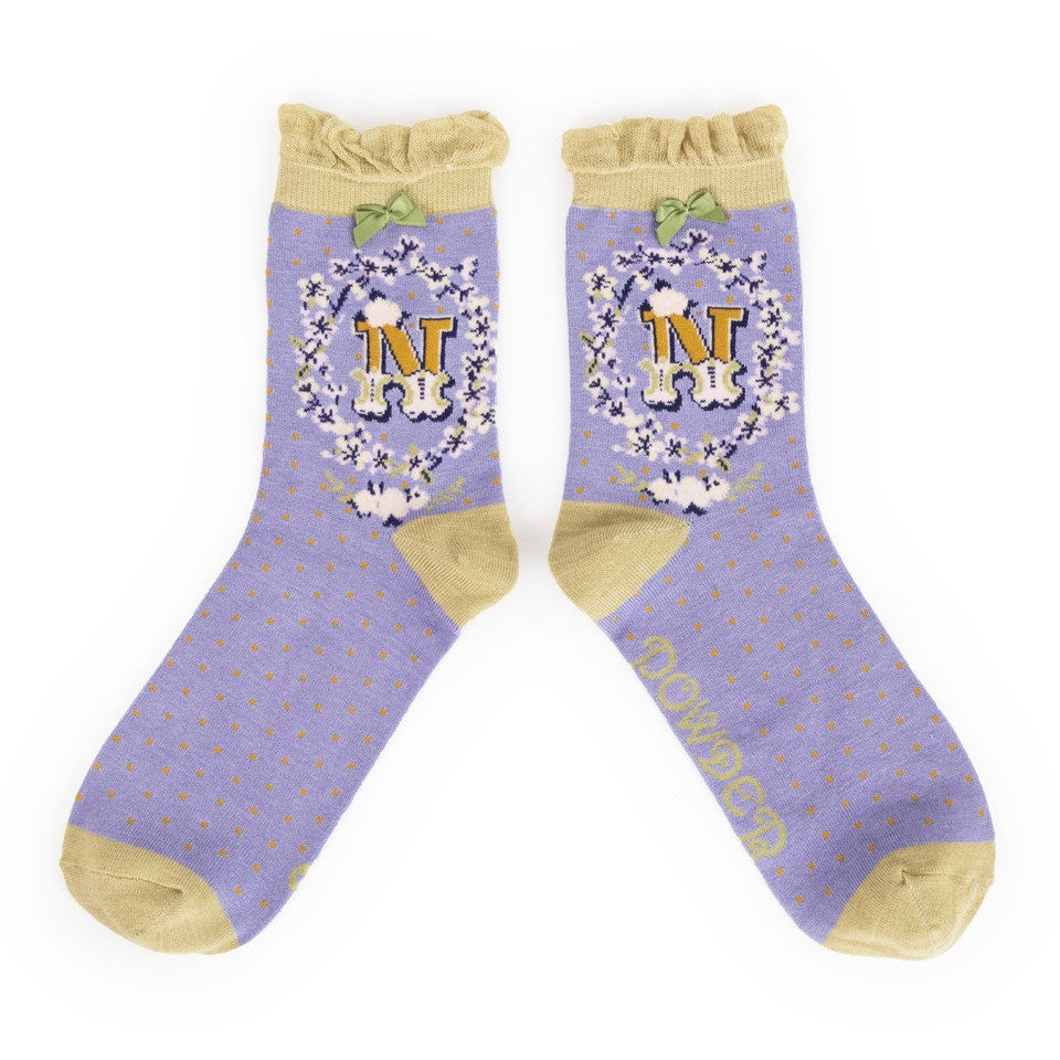 "Powder ""A to Z"" Monogrammed Ankle Socks - N - Putti Fine Fashions Canada"