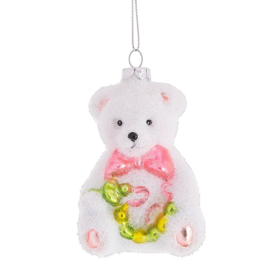 Flocked Baby Bear Ornament - Pink