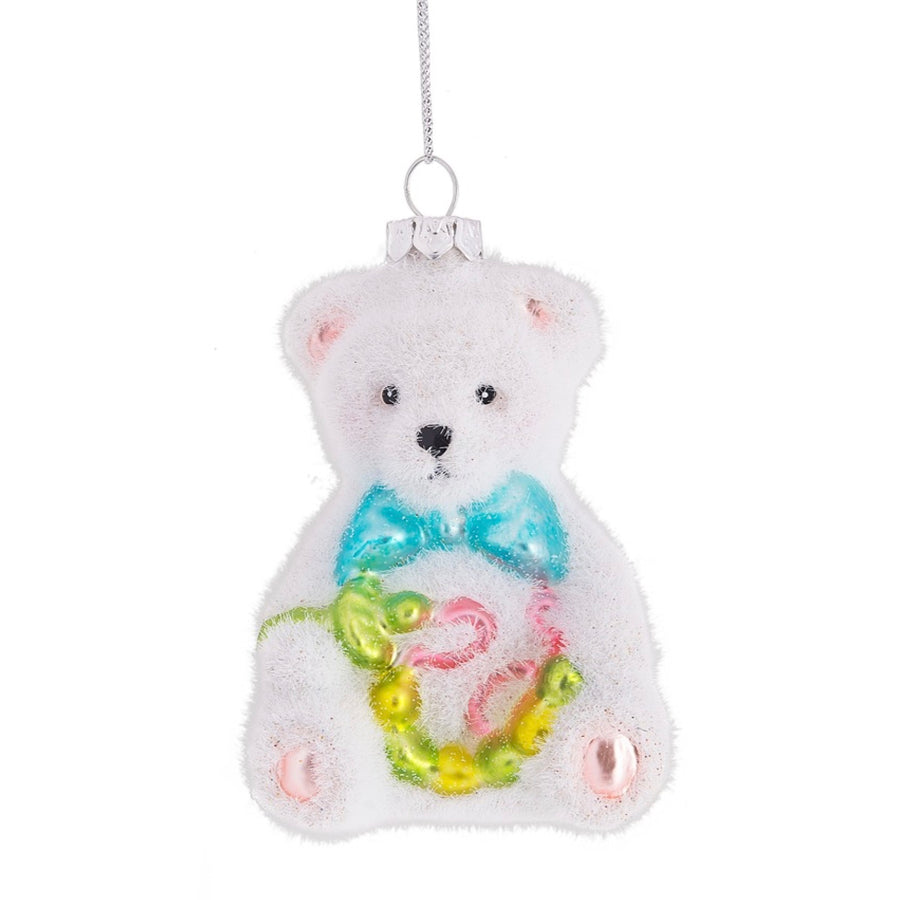 Flocked Baby Bear Ornament - Blue