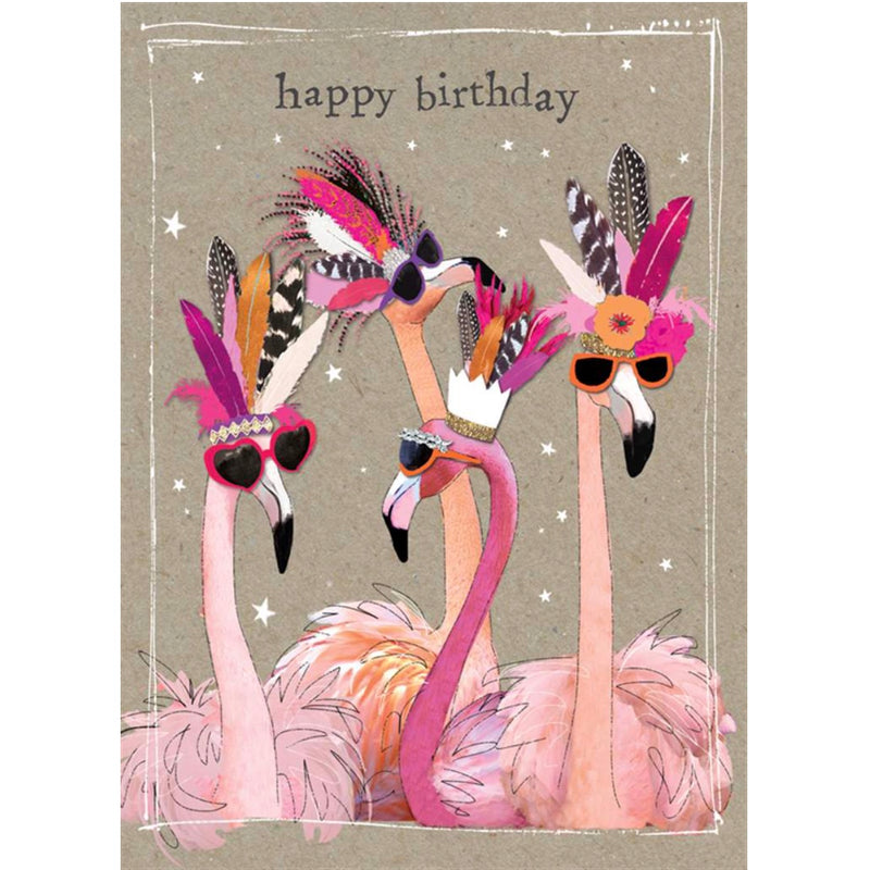 """Happy Birthday"" Flamingo Greeting Card"