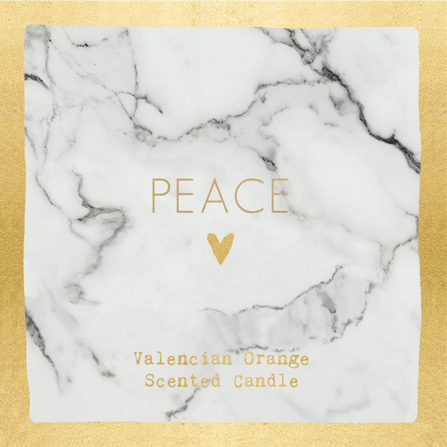 """Peace"" Valencian Orange Scented Candle - White Marble"