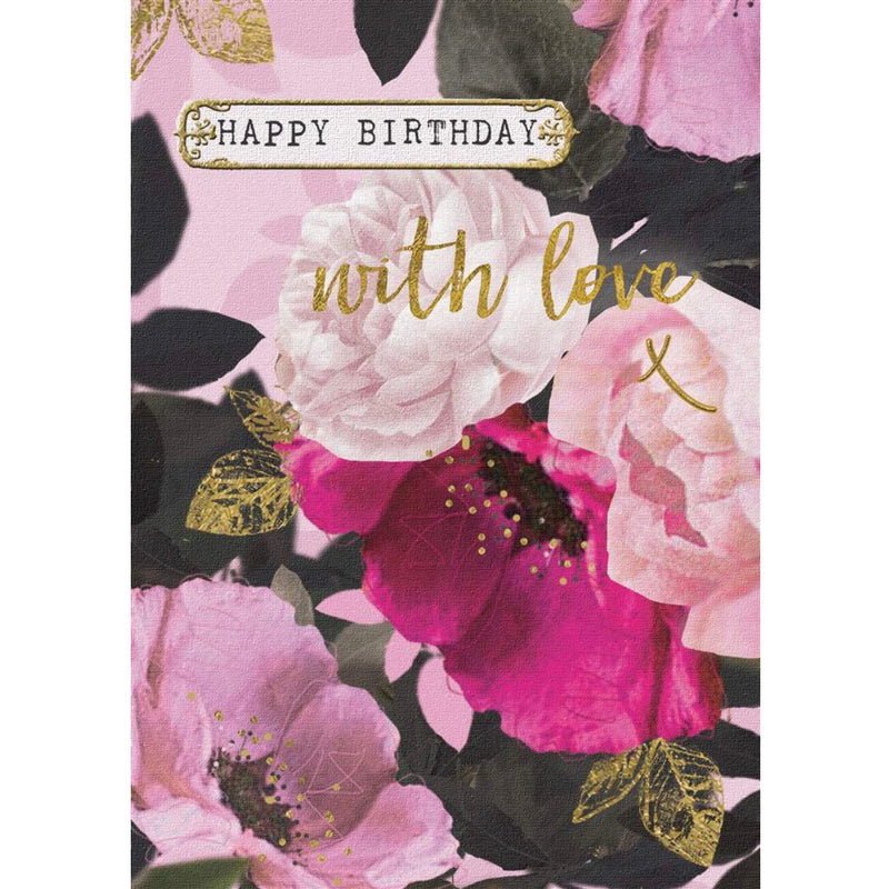 """Happy Birthday ...with love"" Botanical Greeting Card"