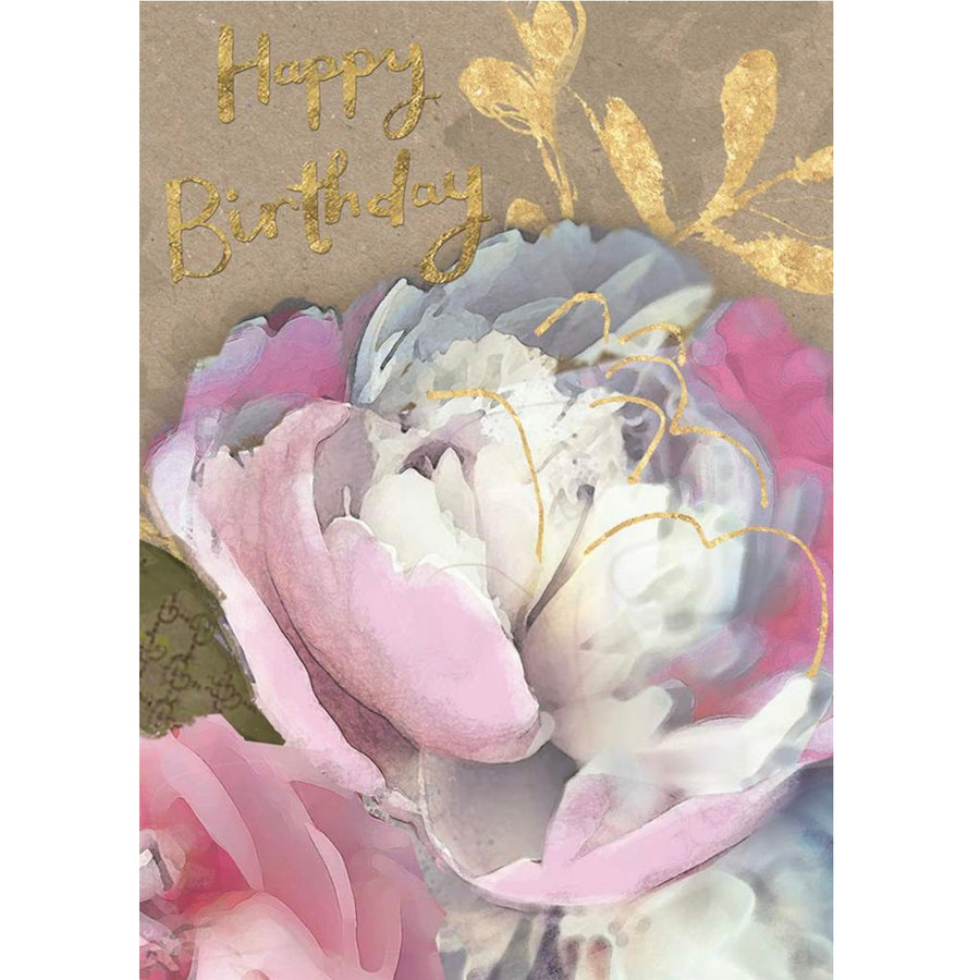 """Happy Birthday"" Pink Peony Botanical Greeting Card"