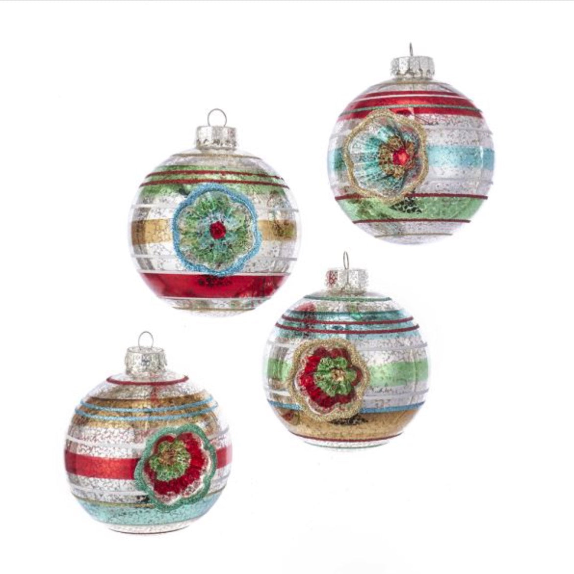 Kurt Adler Early Years Glass Reflector Ball Ornaments - 100mm