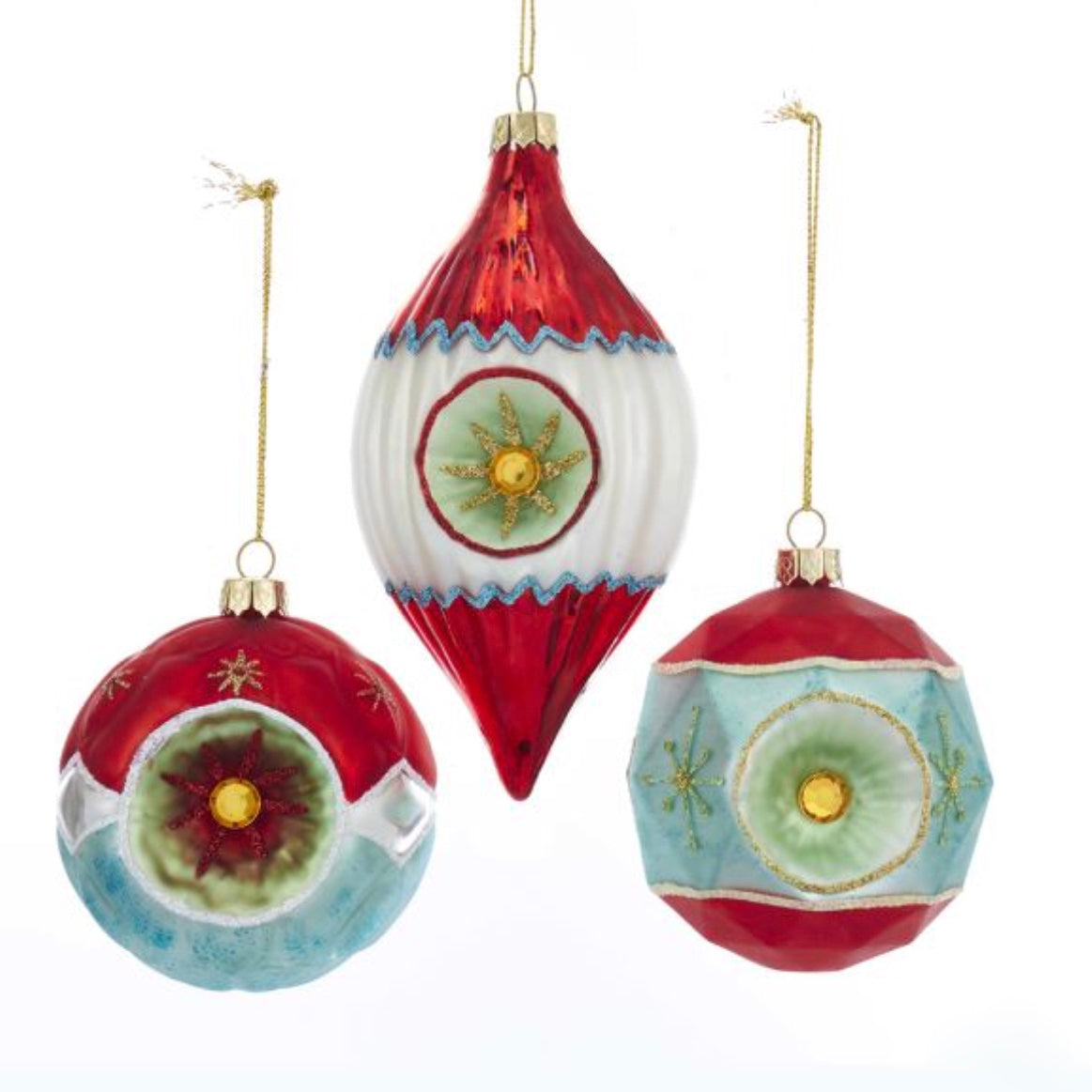 Kurt Adler Glass Ball and Finial With Reflector Ornaments