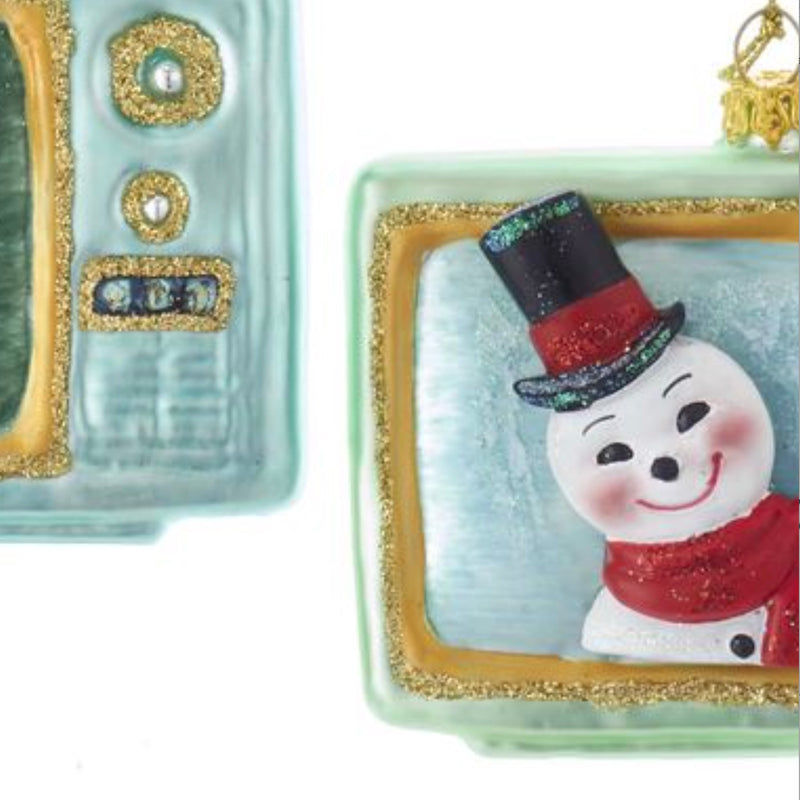 Kurt Adler Glass Santa and Snowman Television Ornament - Putti Christmas