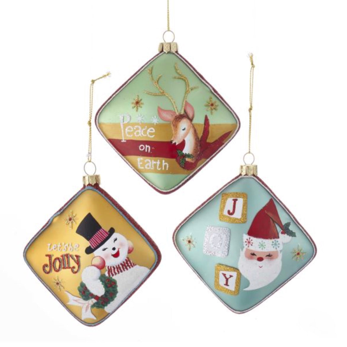 Kurt Adler Glass Santa, Snowman and Reindeer Ornaments - Putti Christmas
