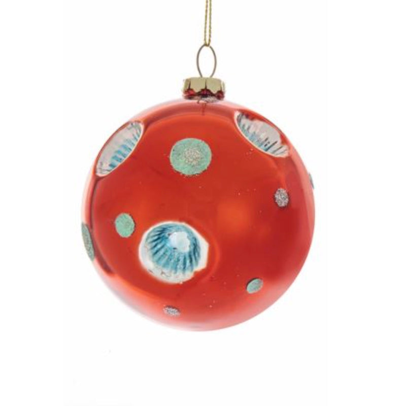 Kurt Adler Glass Red and Blue Retro Reflector Ball Ornaments - Putti Christmas