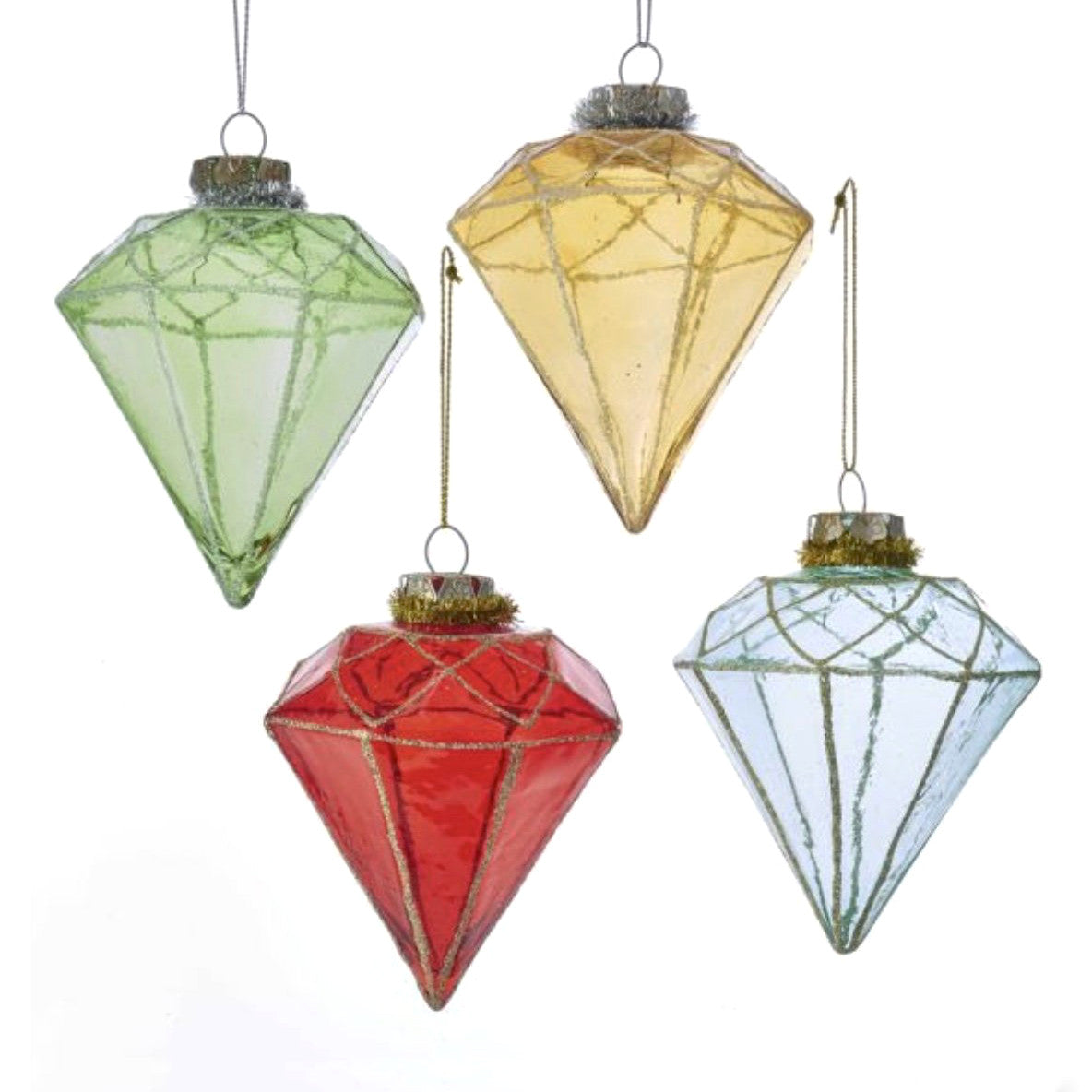 Kurt Adler Glass Diamond Shape Ornaments | Putti Christmas