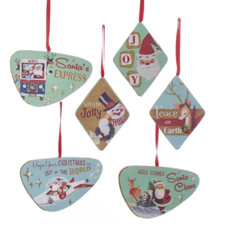Kurt Adler Wooden Glittered Christmas Sign Ornaments