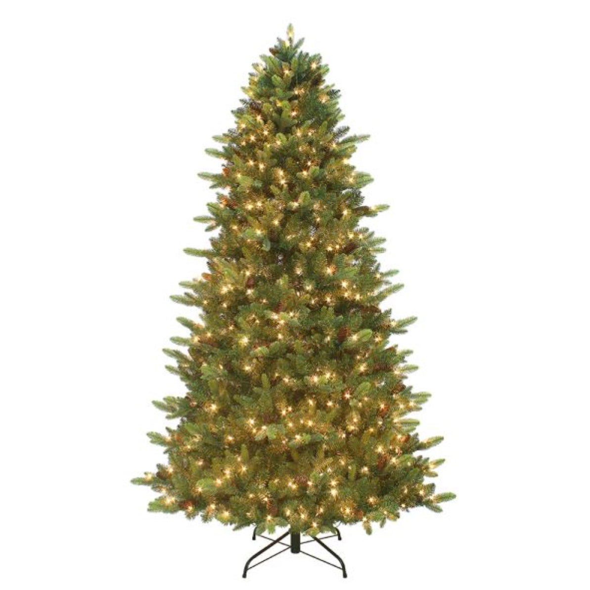 Pre-Lit Twinkle LED Christmas Tree With Pinecones 7.5-Foot - Putti Canada