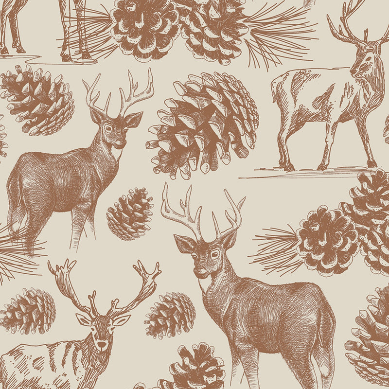 Woodland Etching Wrapping Paper Roll - Putti Christmas Celebrations