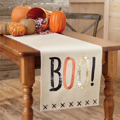 "Mud Pie Canvas ""Boo"" Sequin Aplique Table Runner Putti fine Furnishings"