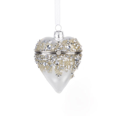 Hinged Heart Treasure Box Ornament - Silver