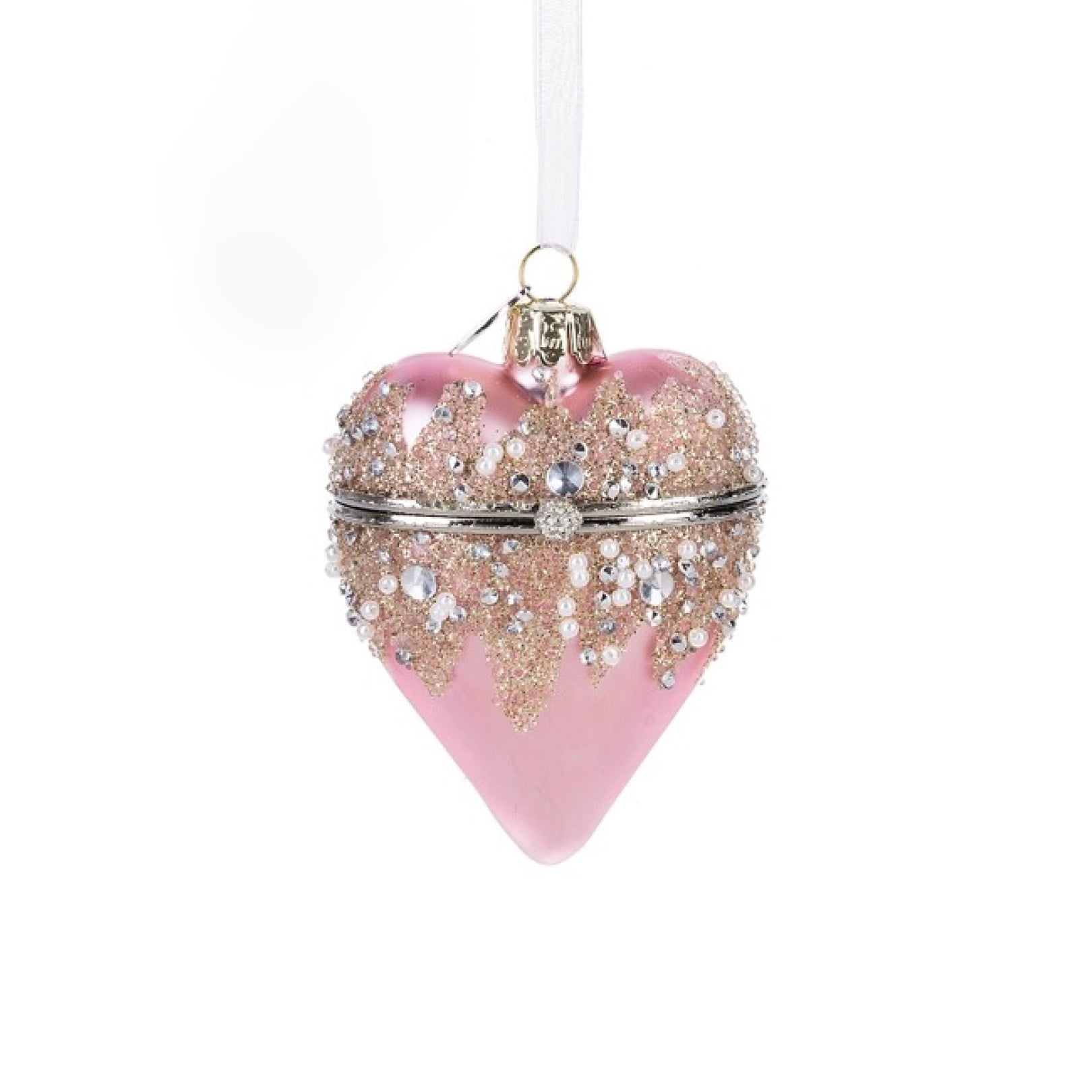 Midwest Hinged Heart Treasure Box Ornament - Pink - Putti Celebrations Canada